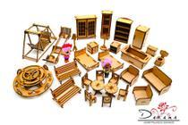 Moveis mini bonecas com 29 peças mdf natural - darama -