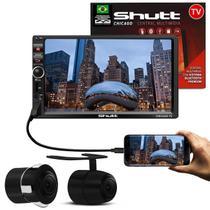 MP3 MP5 Player Automotivo Shutt Chicago TV 7 Pol Bluetooth Tv Digital USB + Câmera Ré Colorida 2x1 - Kit shutt