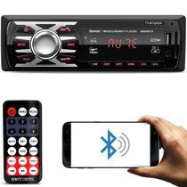 MP3 Player Automotivo 1 Din Led Bluetooth USB SD Cartão Auxiliar P2 Rádio FM Com Controle 6660BCN - First option
