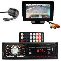 MP3 Player Automotivo Din Bluetooth USB Cartão de Memória SD Auxiliar P2 Rádio FM MP3 + Tela Monitor - Import Ts