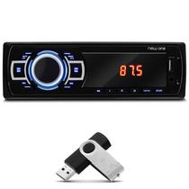 MP3 Player Automotivo Multilaser New One P3318 1 Din Led USB SD Auxiliar P2 Rádio FM + Pen Drive 8GB
