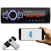 MP3 Player Automotivo Multilaser New One P3319 Bluetooth 1 Din Led MP3 SD USB FM + Pen Drive 8GB