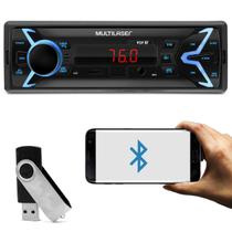 MP3 Player Automotivo Multilaser Pop BT P3336 1 Din Bluetooth LED USB SD AUX P2 FM + Pen Drive 8GB