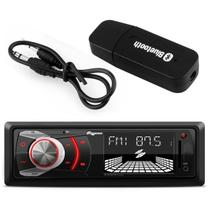 MP3 Player Automotivo Quatro Rodas 1 Din 3 Pol USB AUX FM RCA + Adaptador Bluetooth Música Receptor - Prime
