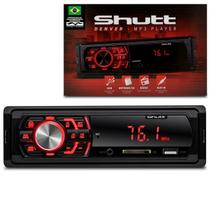 MP3 Player Automotivo Shutt Denver 1 Din USB SD Auxiliar P2 Rádio FM RCA LED Vermelho