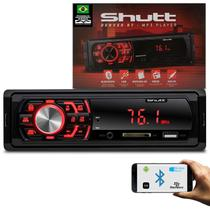 MP3 Player Automotivo Shutt Denver BT 1 Din Bluetooth USB SD Auxiliar P2 Rádio FM RCA LED Vermelho