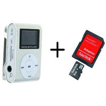 MP3 Player com Visor Cinza + Cartao de Memoria 8GB - Ukimix
