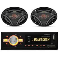 MP3 Player HR420 Bluetooth USB + Par de Alto Falantes Quadriaxial Bomber 6x9 Polegadas 250 RMS - Prime