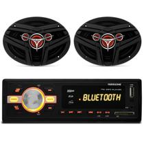 MP3 Player HR420 Bluetooth USB SD AUX FM + Par Alto Falante Bomber 6x9 Polegadas 200 RMS - Prime