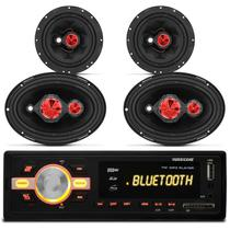 MP3 Player HR420 BT Bluetooth USB + Kit Fácil Bomber Par Alto Falantes 6 e 6x9 Polegadas 240W RMS - Prime