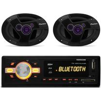 MP3 Player HR420 BT Bluetooth USB + Par Alto Falante Pioneer TS-6941TBR 6x9 Polegadas 200W RMS - Prime