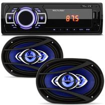 MP3 Player Multilaser New One P3318 1 Din + Par Alto Falantes Hurricane Class CM69 6x9