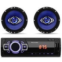 MP3 Player Multilaser New One USB SD Auxiliar + Alto Falantes Hurricane 6 Polegadas 130W RMS Par - Prime