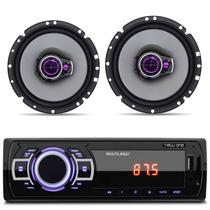 MP3 Player Multilaser New One USB SD Auxiliar + Alto Falantes Pioneer 6 Polegadas 100W RMS Par - Prime