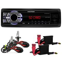 MP3 Player Multilaser One 1 Din USB SD Rádio FM Auxilar + KIT Xenon HB4 8000K - Prime