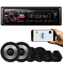 MP3 Player Pioneer MVH-298BT 1 Din + Kit 2 Vias Bomber Upgrade 6