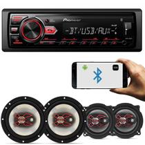 MP3 Player Pioneer MVH-298BT 1 Din + Par Alto Falantes Bravox 5