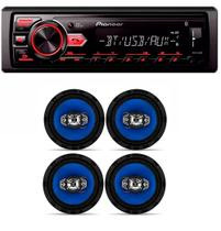Mp3 Player Pioneer Mvh-298bt Usb Bluetooth e 2 Pares De Alto Falante Orion 6 Polegadas 110w - Pioneer / orion