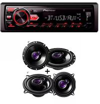 Mp3 Player Pioneer Mvh-298bt Usb Bluetooth e Auto Falante Pioneer Kit 5' Ts1360 + 6' Ts1760 200w