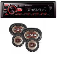 Mp3 Player Pioneer Mvh-298bt Usb Bluetooth e Kit Facil Bravox Alto Falante 6 + 6x9 Pol 240w - Pionner / bravox