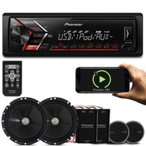 MP3 Player Pioneer MVH-S108UI 1 Din + Kit 2 Vias Pioneer TS-C170BR 6