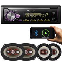 """MP3 Player Pioneer MVH-X30BR 1 Din + Kit Fácil Alto Falantes Bravox Linha X 6"""" e 6x9"""" 240W R - Prime"""