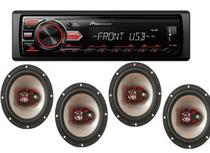 Mp3 Player Pioneer Usb Controle 118ui + Kit 4 Alto Falantes - Pioneer/Bravox