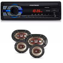 Mp3 Player Positron Sp2210 Usb Sd com Kit Facil Bravox Alto Falante 6 + 6x9 Pol 240w - Positron / bravox