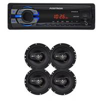 Mp3 Player Positron Sp2210 Usb Sd Radio Fm 1din e Kit 4 Alto Falante 6 240w Rms