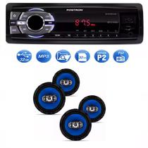 Mp3 Player Positron Sp2210 Usb Sd Radio Fm e Kit 4 Alto Falantes Orion 6 Pol 220w Rms
