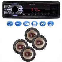 Mp3 Player Positron Sp2210 Usb Sd Radio Fm e Kit 4 Auto Falante Bravox 6 Pol 50w - Positron / bravox