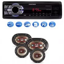 Mp3 Player Positron Sp2210 Usb Sd Radio Fm e Kit Auto Falante Bravox Facil 6   Triaxial Quadriaxial 6x9 - Positron / bravox