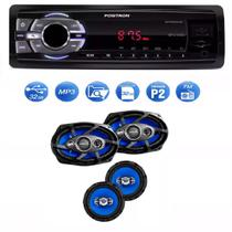 Mp3 Player Positron Sp2210 Usb Sd Radio Fm e Kit Facil Tsr Orion Alto Falantes 6 E 6x9 Pol 220w Rms - Positron / orion