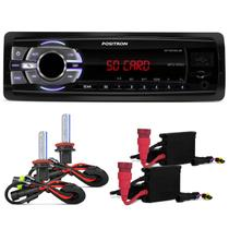 MP3 Player Positron SP2210UB USB FM SD Card 1 Din Slim WMA + KIT Xenon HB4 6000K - Prime
