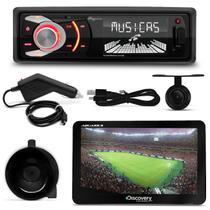 MP3 Player Quatro Rodas MTC6608 1 Din 3 Pol USB SD+ GPS Discovery Channel 7.0 TV Câmera Outlet