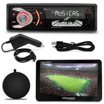 MP3 Player Quatro Rodas MTC6608 1 Din 3 Pol USB SD + GPS Discovery Channel 7.0 TV Outlet
