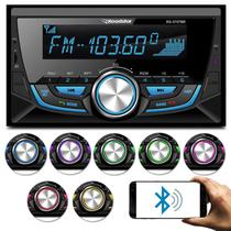 MP3 Player Roadstar 2 Din Bluetooth USB SD Auxiliar P2 Rádio FM Controle 7 Cores Carrega Celular -