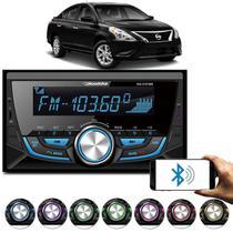 MP3 Player Versa 2011 a 2017 Roadstar 2 Din Bluetooth USB Micro SD Auxiliar P2 FM Controle 7 Cores -