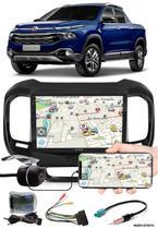 """Multimídia 9"""" Polegadas Fiat Toro Espelhamento USB Bluetooth + Moldura Painel + Interface Volante + Chicotes + Câmera de Ré - H-Tech / Expex"""