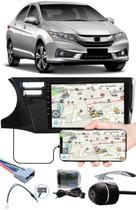 """Multimídia 9"""" Polegadas Honda City 2015 à 2020 + Chicotes + Interface Volante + Moldura Painel + Câmera de Ré - H-Tech"""