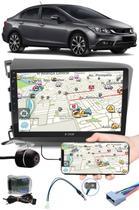 """Multimídia 9"""" Polegadas Honda Civic 2012 à 2016 Espelhamento USB Bluetooth + Moldura Painel + Interface Volante + Chicotes + Câmera de Ré - H-Tech / Expex"""