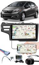 """Multimídia 9"""" Polegadas Honda Fit 2015 à 2020 + Chicotes + Interface Volante + Moldura Painel + Câmera de Ré - H-Tech"""