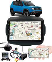 """Multimídia 9"""" Polegadas Jeep Renegade Espelhamento USB Bluetooth + Moldura Painel + Interface Volante + Chicotes + Câmera de Ré - H-Tech / Expex"""