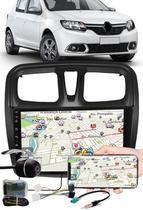 """Multimídia 9"""" Polegadas Renault Sandero 2017 à 2020 Espelhamento USB Bluetooth + Moldura Painel + Interface Volante + Chicotes + Câmera de Ré - H-Tech / Expex"""