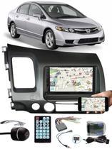 Multimídia Honda New Civic 2007 à 2011 Espelhamento Bluetooth USB SD Card + Interface Volante + Moldura + Chicotes + Câmera Ré - E-Tech / Tiger / H-Tech