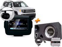 Multimídia Jeep Renegade Câmera + Moldura + Caixa Trio + Modulo Taramps - Oestesom