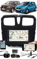 Multimídia Renault Logan Sandero 2015 à 2020 Espelhamento Bluetooth USB SD Card + Interface Comando Volante + Moldura + Chicotes + Câmera Ré - E-Tech / Tiger / H-Tech