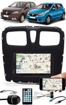Multimídia Renault Logan Sandero 2015 à 2020 Espelhamento Bluetooth USB SD Card + Moldura + Chicotes + Câmera Ré - E-Tech / Tiger / H-Tech