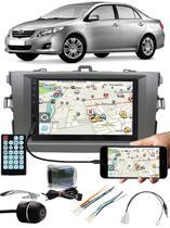 Multimídia Toyota Corolla 2009 à 2013 Espelhamento Bluetooth USB SD Card + Interface Comando Volante + Moldura + Chicotes + Câmera Ré - E-Tech / Tiger / H-Tech