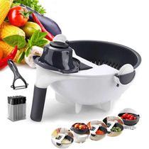 Multiprocessador Fatiador Cortador Ralador De Legumes Verduras Frutas 9 Lâminas - Escorredor